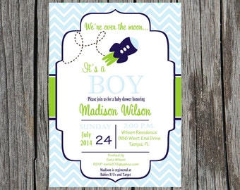 Rocket ship Baby Shower Invitation, rockets, spaceship, baby boy shower, DIY and printable