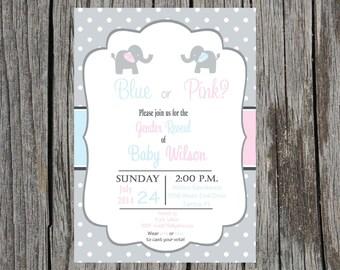 Printed Gender Reveal Invitations, elephant gender reveal invitation, gender reveal party invitation, printed set