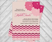 Printable baby shower invitations for girls - chevron baby shower invite - flowers - peach and pink (772)
