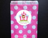 Princess Party Favor Bag & Personalized Stickers, Goody Bags, Candy Bags, Set of 12