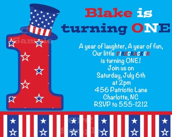 July 4th Birthday Party Invitations - Printable or Printed - Fourth of July Invitation, Party Supplies, Birthday T-Shirt