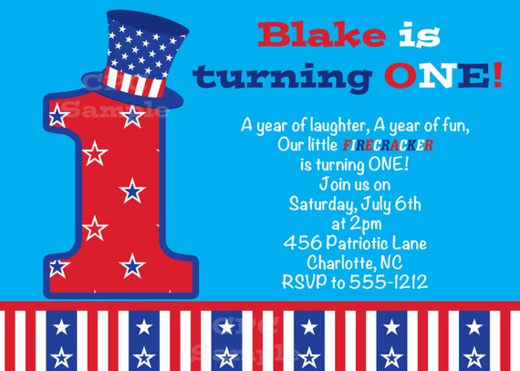 July 4th Birthday Party Invitations
