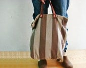 Simple Stripe Tote Canvas Bag with Leather Handles