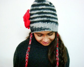 Knit Beanie Hat with Flower Pin