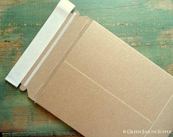 6x8 Recycled Rigid Mailers: 25 kraft stay flat mailers, recycled rigid mailer, eco-friendly & recycled, kraft brown, 6x8 (152 x 203mm)