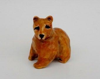 Grizzly Bear Ceramic Figurine - Brown Bear Miniature - Forrest Animal Miniature - Pottery Animal - Ceramic Animal Figurine