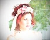 Exquisite, exclusive CKD design woodland fairy shabby chic bohemian bridal wedding hair wreath headband with handmade silk florals