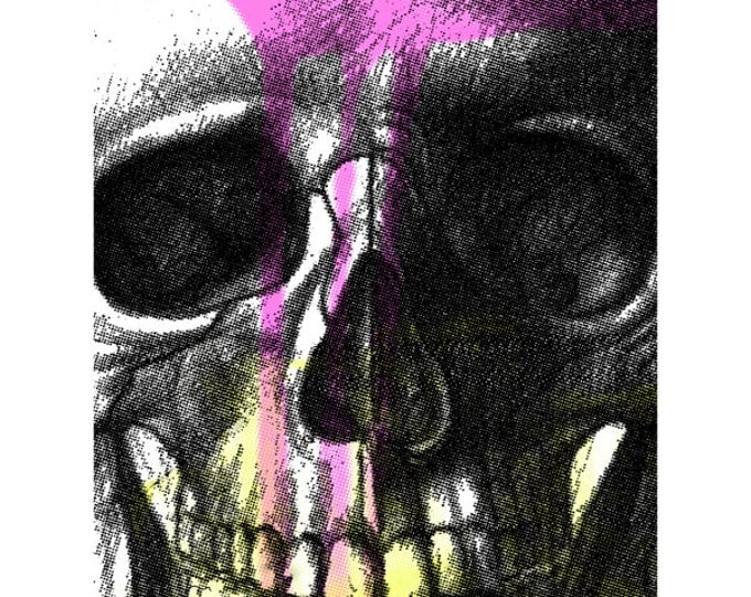 "Cool skull screenprint poster with neon pink drips and fluorescent yellow. Skull close-up printed in black. Standard poster size 18""x24""."
