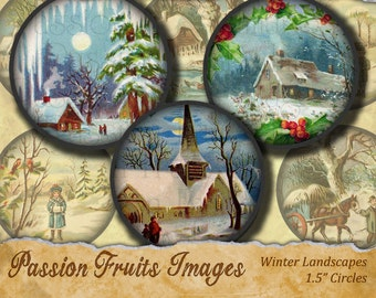 Winter Landscapes 1.5 inch rounds Digital Collage Sheet