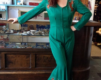 Dolly Dachshund Jumpsuit Large 1970s Country Chic Large