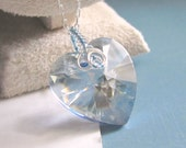 Heart Necklace Blue Crystal Pendant on Sterling Silver Wire Wrap Handmade Jewelry