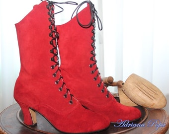 Red Victorian Boots Red shoes Red Wedding boots Red Ankle Lace up boots Red suede leather custom shoes