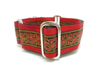 """Houndstown 1.5"""" Dragon Fire Unlined Buckle or Martingale Collar, Any Size"""