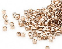 Seed Beads Delica  Size 11 Round Galvanized Light Gold 50 Grams DB411