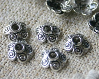 100pcs Antiqued Silver Plated Pewter Bead Cap 10x3mm Flower For 10-14mm Bead