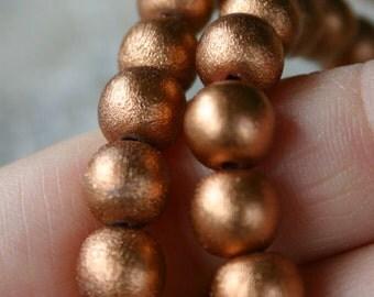 100pcs Metallic Copper 8mm Wood Natural Beads Round Macrame Bead