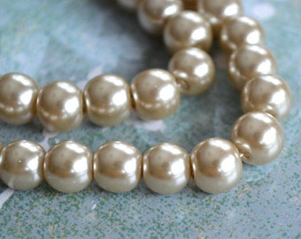 100pcs Glass Pearl Bead Round Beige 8mm 2x16 Inches Strand