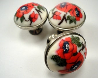 Cabinet Knobs  decorative Round Red Poppy flower 10 brushed nickel  metal base Poppies on White polymer clay Unique Handmde cabinet knobs