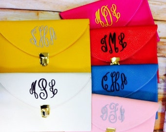 Set of 8 Monogrammed Envelope Clutches Bridesmaids Gifts Monogrammed Clutch Bridesmaid Gift  Bridal Party Gift Any Color