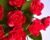 Miniature Polymer Clay Supplies Red Heart Rose, set of 24 stems