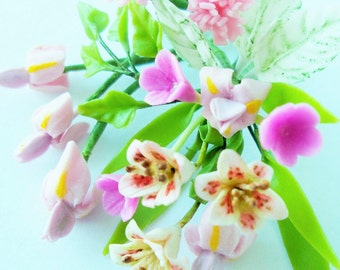 Miniature Polymer Clay Flowers Bouquet, Lily, Iris and Carnation, Supplies for Dollhouse and Handmade Gifts 1 Bunch