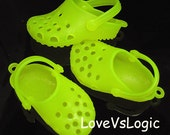 2 XXHuge Shoe 3D Pendants.51mm.Neon Yellow