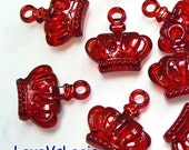 15 -3D Crown-  Acrylic Charms. Icey Dark Red
