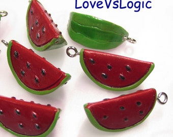 4 Slice Water Melon Lucite Charms. Red Tone