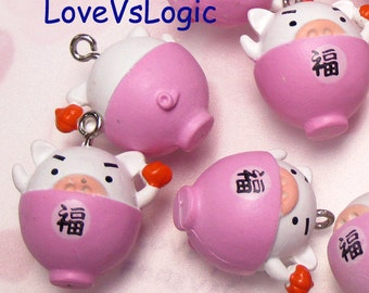 4 Pig on Bowl Plastic Charms. Cute