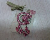 Eisenberg Ice pink brooch and earring set 1970's