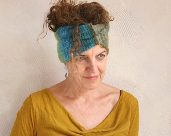 Lime Teal hairband turban or cowl, one of a kind knit with hand blended silk and kid mohair