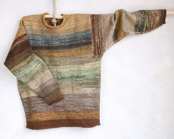 Size M Mens, L womens one of a kind weekend knit sweater - Camel - knit with cotton and a bit of kid mohair for a soft sweatshirt feel