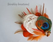 Ivory Orange Peacock Hair Clip Bronze Green Feathers Fall Autumn JASPER Prom Wedding Bridal Bride Bridesmaid Hairpiece Pearl Bead Cluster