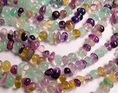 Fluorite - bead - full strand - rounded nugget - pebble - A quality  - 55 beads per  strand - NRG21