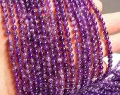 Amethyst - 4mm  round - 94 beads - full strand - RFG951