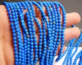 Howlite turquoise - 4mm round beads -1 full strand - 100 beads - A quality - RFG258