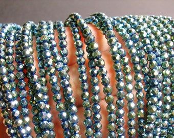 Hematite green aqua - 4 mm faceted round beads -1 full strand -97 beads - AA quality - PHG32