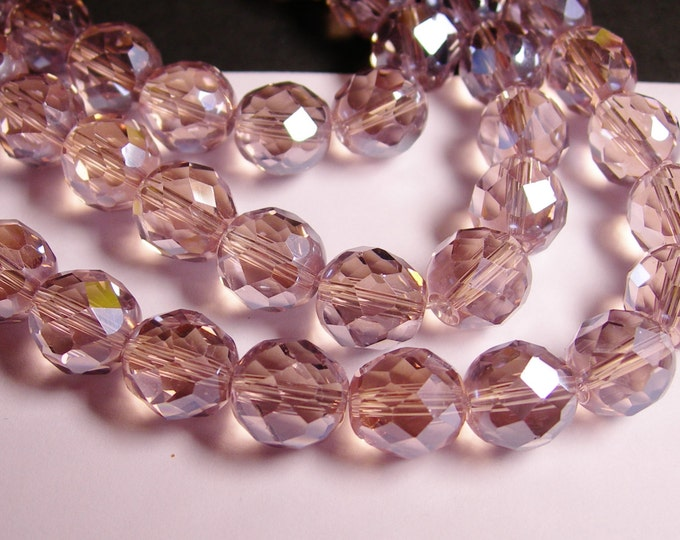 Crystal faceted rounded - 12 pcs - 10 mm - AA quality - lavender  purple  - CFHBC14