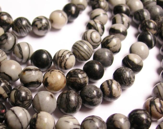 Silk Stone - 8 mm - round bead - 48 beads - full strand - Spider Jasper - RFG1019