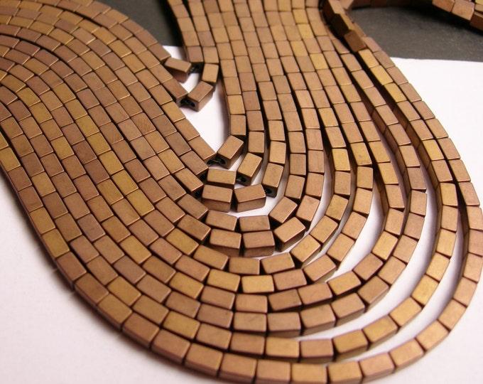 Hematite bronze - 5mm rectangle beads -  full strand - 80 beads - AA quality - matte - 5x3 - PHG63