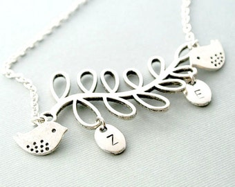 Bird Necklace, Leaf with Bird Necklace, Leaf Necklace, Bird Necklace, Leaves Necklace,Initial Necklace