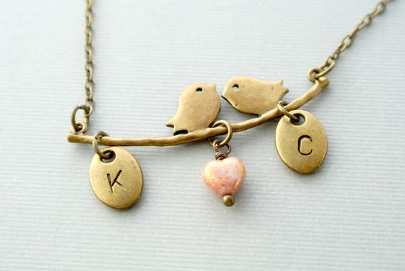 Lovely Birds on the Branch with Heart Necklace, Bird Necklace, Valentine Jewelry,Personalized Initial Bird Necklace, Initial Necklace