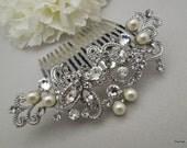 Bridal Hair Comb,Pearl Bridal Hair Comb,Ivory or White Pearls,Rhinestone Hair Comb,Rhinestone Bridal Hair Comb,Bridal Jewelry,Pearl,NAYA