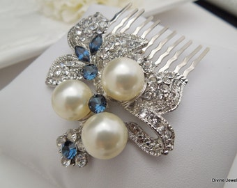 Ivory Pearls Hair Comb Wedding pearl Hair Comb Bridal Hair Comb Bridal vintage style Rhinestone Hair Comb Something Blue Hair Comb SHARON