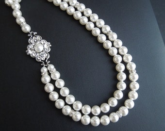 Pearl Necklace Bridal Necklace White swarovski Pearls Bridal Statement Necklace Pearl Bridal Necklace Pearl Rhinestone Necklace  CLAUDE
