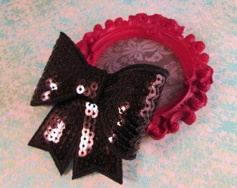 BLACK SEQUIN BOW-Big Black Sequin Bow Hair Clip