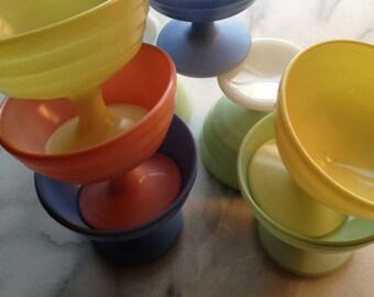 Vintage 50s Milk Glass Pastel Pedestal Dessert Cups (8)