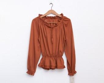 sweater 70s NOS vintage draped colar peplum
