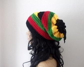 Unique Jamaican Style Rasta Hat or cowl,scarf-Bob Marley Dreadlocks Tam