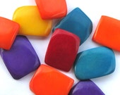 Five Mixed Color, Double Drilled Tagua Nut Beads, C8, Organic Beads, Natural Beads, Vegetable Ivory Beads, EcoBeads